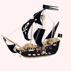 olcso Modellek és építőjáték-Fából készült építőjátékok Wood Model Hajó Kalózok Kalózhajó Kalóz szakmai szint Fa 1 pcs Gyermek Felnőttek Fiú Lány Játékok Ajándék