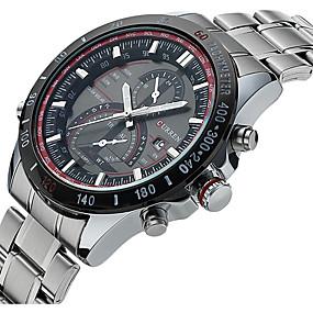 Недорогие Фирменные часы-CURREN Муж. Спортивные часы Модные часы Нарядные часы Кварцевый Разноцветный 30 m Защита от влаги Календарь Светящийся Аналого-цифровые Роскошь Классика На каждый день - Белый Черный / Два года