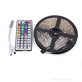 povoljno Dom i vrt-5m Setovi svjetala 300 LED diode 5050 SMD RGB Vodootporno / Daljinsko upravljanje / Cuttable 12 V / IP65 / Zatamnjen / Povezivo / Pogodno za vozila / Samoljepljiva