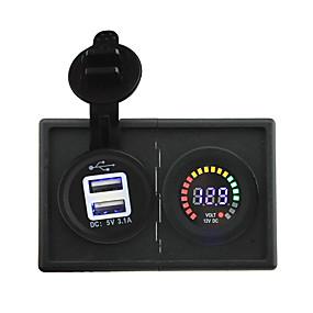 voordelige Autoladers-12v geleid digitale display voltmeter en 3.1a usb adapter met huisvesting houder paneel voor auto boot truck rv
