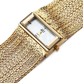 Недорогие Фирменные часы-ASJ Жен. Часы-браслет золотые часы Квадратные часы Японский Кварцевый Медь Серебристый металл 30 m Защита от влаги Ударопрочный Аналоговый Дамы Кулоны На каждый день - Серебряный Золотистый