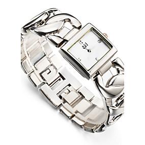 Недорогие Фирменные часы-ASJ Жен. Наручные часы Квадратные часы Японский Кварцевый Серебристый металл / Золотистый 30 m Защита от влаги Ударопрочный Аналоговый Дамы Кулоны Блестящие На каждый день Мода - Белый Золотистый