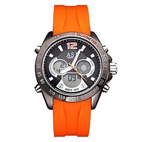 Недорогие Фирменные часы-ASJ Муж. электронные часы Цифровой На каждый день Защита от влаги Аналого-цифровые Черный Оранжевый / Два года / Нержавеющая сталь / силиконовый / Японский / Календарь