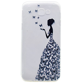 olcso Galaxy A5(2016) tokok-Case Kompatibilitás Samsung Galaxy A3 (2017) / A5 (2017) / A7 (2017) Dombornyomott / Minta Fekete tok Szexi lány Puha TPU