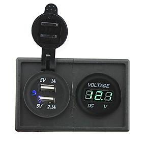 voordelige Auto-elektronica-12v / 24v 3.1a dual usb-aansluiting en leidde voltmeter met huisvesting houder paneel voor auto boot truck rv