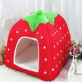 preiswerte Haustierzubehör-Katze Hund Betten Zelt-Höhlenbett Haustier Haus Frucht Klappbar Weich Stoff 41.0*31.0*13.0 cm