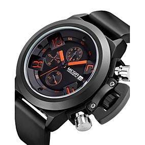Недорогие Фирменные часы-MEGIR Муж. Спортивные часы Модные часы Наручные часы Кварцевый Разноцветный 30 m Аналоговый На каждый день Винтаж - Черный / Нержавеющая сталь