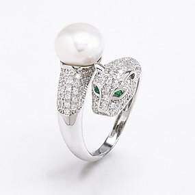 olcso Ezüst-Női Gyűrű Kocka cirkónia Ezüst Gyöngyutánzat Cirkonium Ezüst Napi Hétköznapi Ékszerek