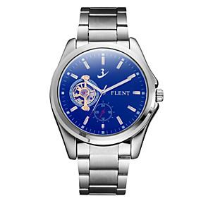 voordelige Merk Horloge-ASJ Heren mechanische horloges Japans Automatisch opwindmechanisme Roestvrij staal Zilver 30 m Stootvast Maanfase Analoog Amulet Vintage Informeel - Blauw