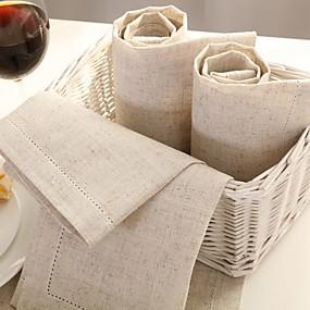 olcso Szalvéták, szalvétagyűrűk-Vászon Négyzet Szalvéta Egyszínű Asztali dekorációk 1 pcs