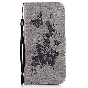 voordelige Galaxy A5(2016) Hoesjes / covers-hoesje Voor Samsung Galaxy A3 (2017) / A5 (2017) / A5(2016) Portemonnee / Kaarthouder / met standaard Volledig hoesje Vlinder Hard PU-nahka