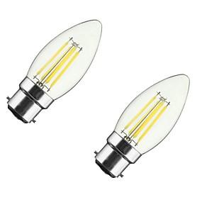 رخيصةأون الحديقة والمنزل-ONDENN 2pcs 4 W مصابيحLED 350 lm B22 E26 / E27 CA35 4 الخرز LED COB تخفيت أبيض دافئ 85-265 V / قطعتين / بنفايات