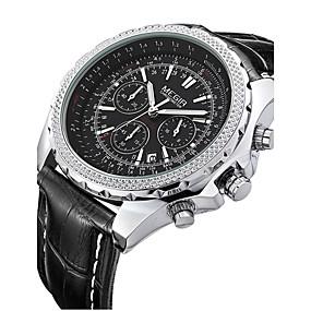 voordelige Merk Horloge-MEGIR Heren Polshorloge Kwarts Leer Zwart / Bruin 30 m Kalender Analoog Klassiek Vintage - Zwart Zwart Wit / Beige