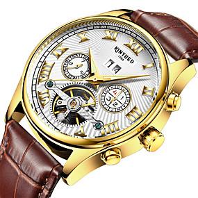 Недорогие Фирменные часы-KINYUED Муж. Модные часы Нарядные часы Часы со скелетом С автоподзаводом Кожа Коричневый 30 m Защита от влаги Календарь Секундомер Аналоговый Роскошь Классика На каждый день - Белый Черный