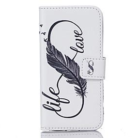 voordelige Galaxy S6 Edge Plus Hoesjes / covers-hoesje Voor Samsung Galaxy S7 edge / S7 / S6 edge plus Portemonnee / Kaarthouder / Patroon Volledig hoesje Veren Hard PU-nahka
