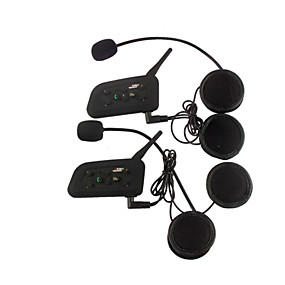 cheap Motorcycle Helmet Headsets-Vnetphone V6 2Pcs 1200M Waterproof Motorcycle Helmet Interphone Full Duplex Bluetooth Car Kit Intercom Headset