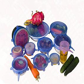 olcso Étel tárolás-6db / set fedél univerzális szilikon saran élelmiszer pot szakaszon szilikon borító serpenyőben konyha vákuum fedő lakk véletlenszerű szín