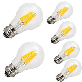 olcso Vásároljon többet, és spóroljon-6db 9 W Izzószálas LED lámpák 1100 lm E26 / E27 A60(A19) 12 LED gyöngyök COB Dekoratív Meleg fehér Hideg fehér 220-240 V / 6 db. / RoHs