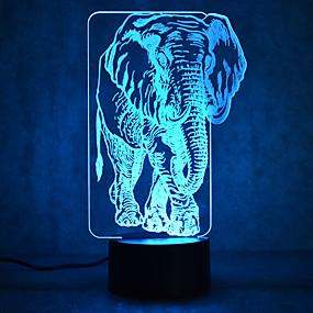رخيصةأون مصابيح ليد مبتكرة-1 قطعة ليلة 3D USB ضد الماء / جهاز استشعار / تخفيت LED / الحديث المعاصر