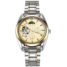 Недорогие Фирменные часы-ASJ Муж. Часы со скелетом Механические часы С автоподзаводом Роскошь Фаза луны Нержавеющая сталь Серебристый металл Аналоговый - Золотистый Черный / Японский / Японский
