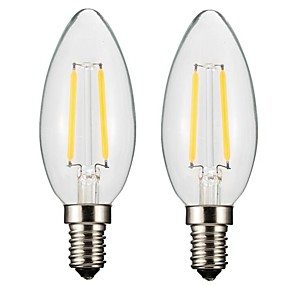 olcso LED izzólámpák-ONDENN 2pcs 2 W Izzószálas LED lámpák 150-200 lm E14 E12 CA35 2 LED gyöngyök COB Tompítható Meleg fehér 220-240 V 110-130 V / 2 db. / RoHs / CE