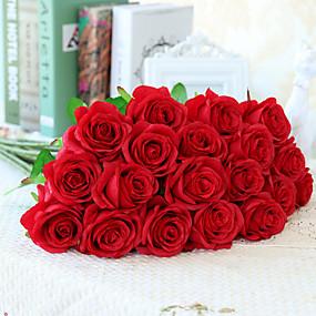 رخيصةأون أزهار اصطناعية-زهور اصطناعية 10 فرع الطراز الأوروبي الورود أزهار الطاولة