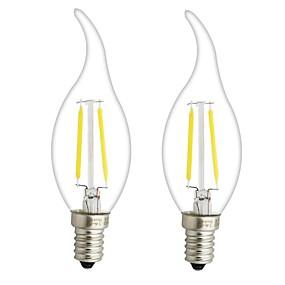 olcso LED izzólámpák-ONDENN 2pcs 3 W Izzószálas LED lámpák 300 lm E14 E12 CA35 2 LED gyöngyök COB Tompítható Meleg fehér 220-240 V 110-130 V / 2 db. / RoHs