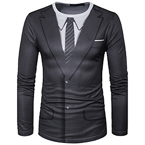 cheap Top Sellers-Men's T-shirt Graphic Simulation Print Tops Street chic Round Neck Black / Sports / Long Sleeve