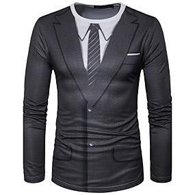 tanie Bestsellery-Męskie T-shirt Graficzny Symulacja Nadruk Najfatalniejszy Moda miejska Okrągły dekolt Czarny / Sport / Długi rękaw
