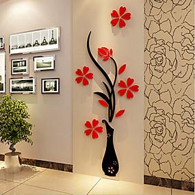 povoljno Ukrasne naljepnice-Božić Romantika Cvjetnih Zid Naljepnice 3D zidne naljepnice Dekorativne zidne naljepnice,Vinil Materijal Početna Dekoracija Zid preslikača