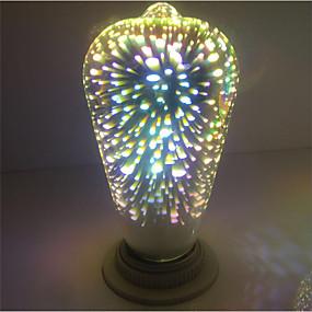olcso Dekorációs izzók-1db st64 tűzijáték dekoratív 3d e27 edison izzó fél meleg fehér dekoratív led globe fények ac85-265v