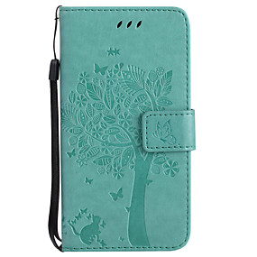 cheap Galaxy A7(2016) Cases / Covers-Case For Samsung Galaxy A3(2017) / A5(2017) / A7(2016) Wallet / Card Holder / with Stand Full Body Cases Cat / Tree Hard PU Leather