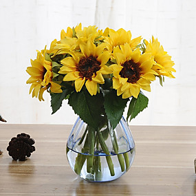 halpa Tekokukat-6 haaraa auringonkukka keinotekoisia kukkia sisustuksessa häät tarjonnan