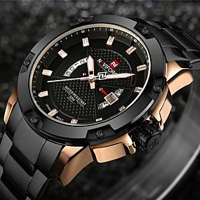 Недорогие Фирменные часы-NAVIFORCE Муж. Спортивные часы Армейские часы Наручные часы Кварцевый Кулоны Защита от влаги Нержавеющая сталь Черный / Серебристый металл Аналоговый - Черный и золотой Черный Серебро / черный