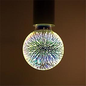 olcso LED gömbbúrás izzók-1db 6 W LED gömbbúrás izzók Izzószálas LED lámpák 500 lm E26 / E27 G95 35 LED gyöngyök Integrált LED Dekoratív Csillagos 3D tűzijáték Multi-szín 85-265 V / RoHs