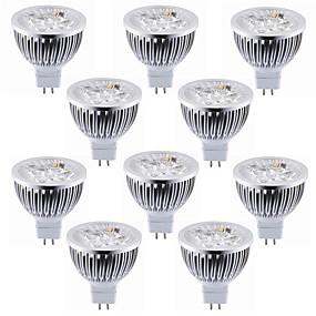 olcso LED szpotlámpák-10pcs 5.5 W LED szpotlámpák 450-500 lm MR16 4 LED gyöngyök Nagyteljesítményű LED Dekoratív Meleg fehér Hideg fehér 12 V / RoHs