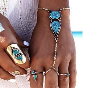 olcso Türkiz-Női Türkizkék Gyűrű karkötők Lógó hölgyek Bohém Divat Boho Gyanta Karkötő ékszerek Ezüst Kompatibilitás Parti