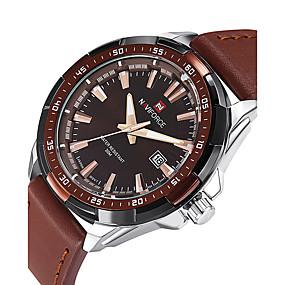 Недорогие Фирменные часы-NAVIFORCE Муж. Спортивные часы Наручные часы Кварцевый Календарь Cool PU Группа Аналоговый Роскошь На каждый день Мода Черный / Коричневый - Черный Коричневый Два года Срок службы батареи