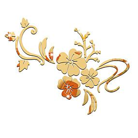 voordelige Decoratiestickers-Decoratieve Muurstickers - Spiegel muurstickers Romantiek / Spiegels / Bloemen Woonkamer / Slaapkamer / Eetkamer