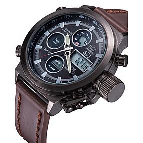 Недорогие Фирменные часы-ASJ Муж. электронные часы Цифровой Роскошь Защита от влаги Кожа Коричневый Аналого-цифровые - Белый Черный Два года Срок службы батареи / Японский / Календарь / Секундомер / Пульт управления