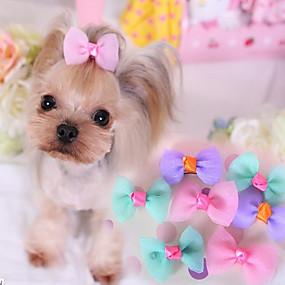 preiswerte Haustierzubehör-Hund Haar Accessoires Hundekleidung Schleife Purpur Blau Rosa Baumwolle Kostüm Für Frühling & Herbst Damen Lässig / Alltäglich