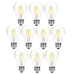 olcso Vásároljon többet, és spóroljon-BRELONG® 10pcs 4 W Izzószálas LED lámpák 300 lm E27 A60(A19) 4 LED gyöngyök COB Tompítható Meleg fehér Fehér 200-240 V / 10 db.