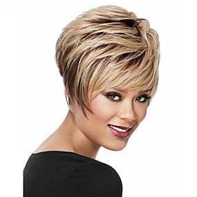 ieftine Sănătate & Înfrumusețare-Peruci Sintetice Drept Drept Perucă Scurt Blond inchis Păr Sintetic Pentru femei Negru