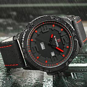 Недорогие Фирменные часы-NAVIFORCE Муж. Спортивные часы Армейские часы Наручные часы Японский Кварцевый силиконовый Черный / Коричневый 30 m Календарь Творчество Cool Аналоговый Роскошь На каждый день Мода Элегантный стиль -