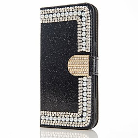 cheap Galaxy J5(2017) Cases / Covers-Case For Samsung Galaxy J7 (2017) / J7 (2016) / J5 (2017) Wallet / Card Holder / Rhinestone Full Body Cases Glitter Shine / Flower Hard PU Leather