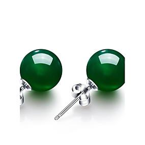 olcso Ezüst-Női Szintetikus smaragd Beszúrós fülbevalók hölgyek Vintage Divat Smaragd Fülbevaló Ékszerek Zöld Kompatibilitás Esküvő Parti Évforduló Születésnap