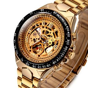 voordelige Merk Horloge-WINNER Heren Skeleton horloge Polshorloge mechanische horloges Automatisch opwindmechanisme Roestvrij staal Goud 30 m Waterbestendig Hol Gegraveerd Lichtgevend Analoog Luxe Vintage zin in hebben -
