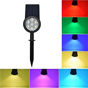 olcso LED projektorok-1db rgb 7led napfény dimmable színváltozás kültéri vízálló napenergia spotlámpa kerti udvar út gyep lámpa táj