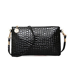 cheap Women's Bags-Women's PU Crossbody Bag Solid Colored Black / Navy Blue / Fuchsia