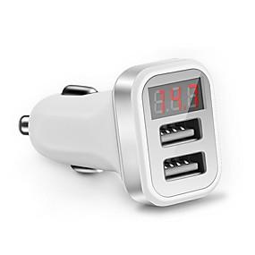 Недорогие Автомобильные зарядные устройства-светодиодный экран автомобильное зарядное устройство QC 2.0 Dual USB зарядное устройство розетка 2.1a адаптер для зарядки мобильного телефона